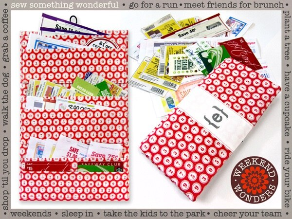 Red Fabric Sewn Coupon Organizer