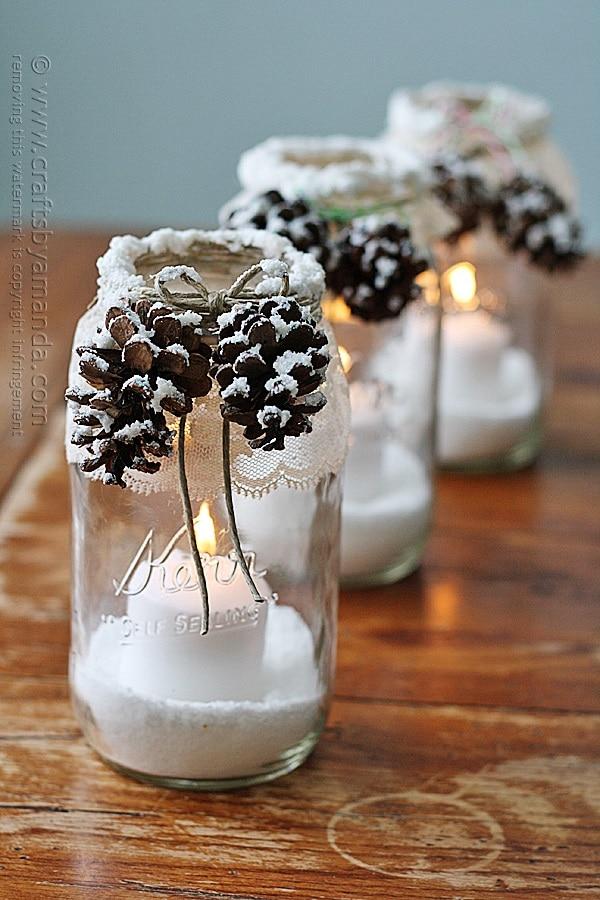 Snowy Pine Cone Jars