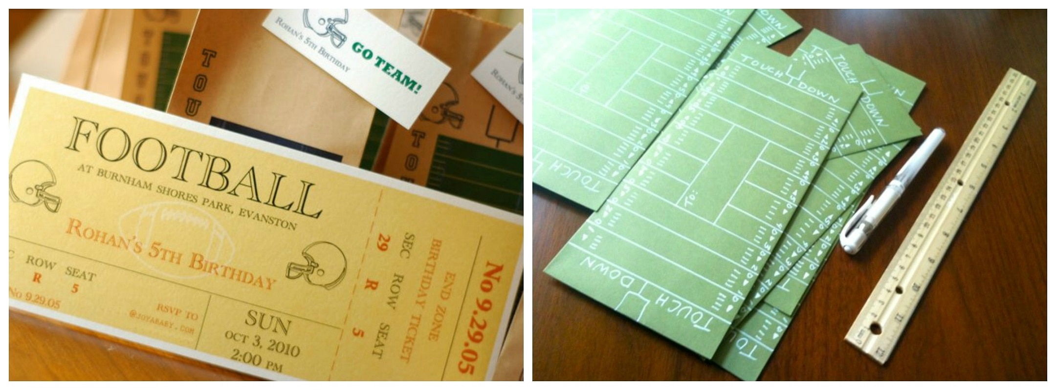 Ticket and Touchdown Invitations