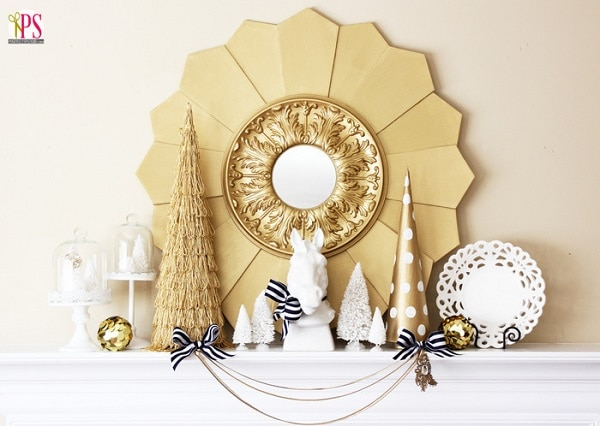White and Gold Winter Mantel