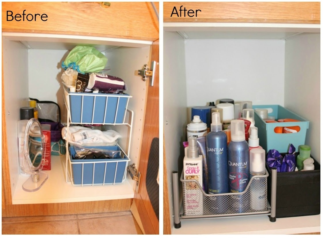 Clean up under the sink with a sliding organizer