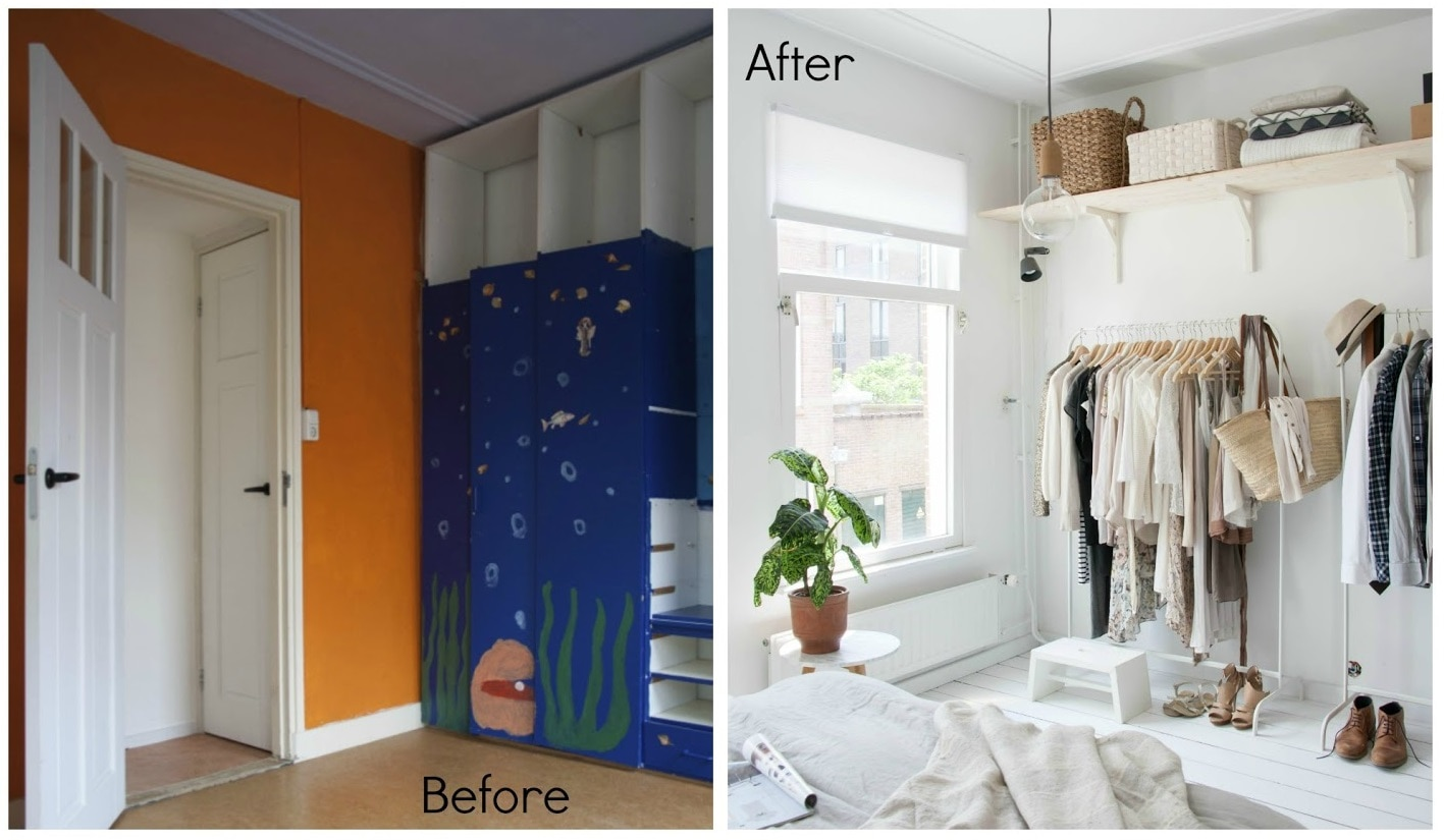 Before and After Closet out of Coat Racks