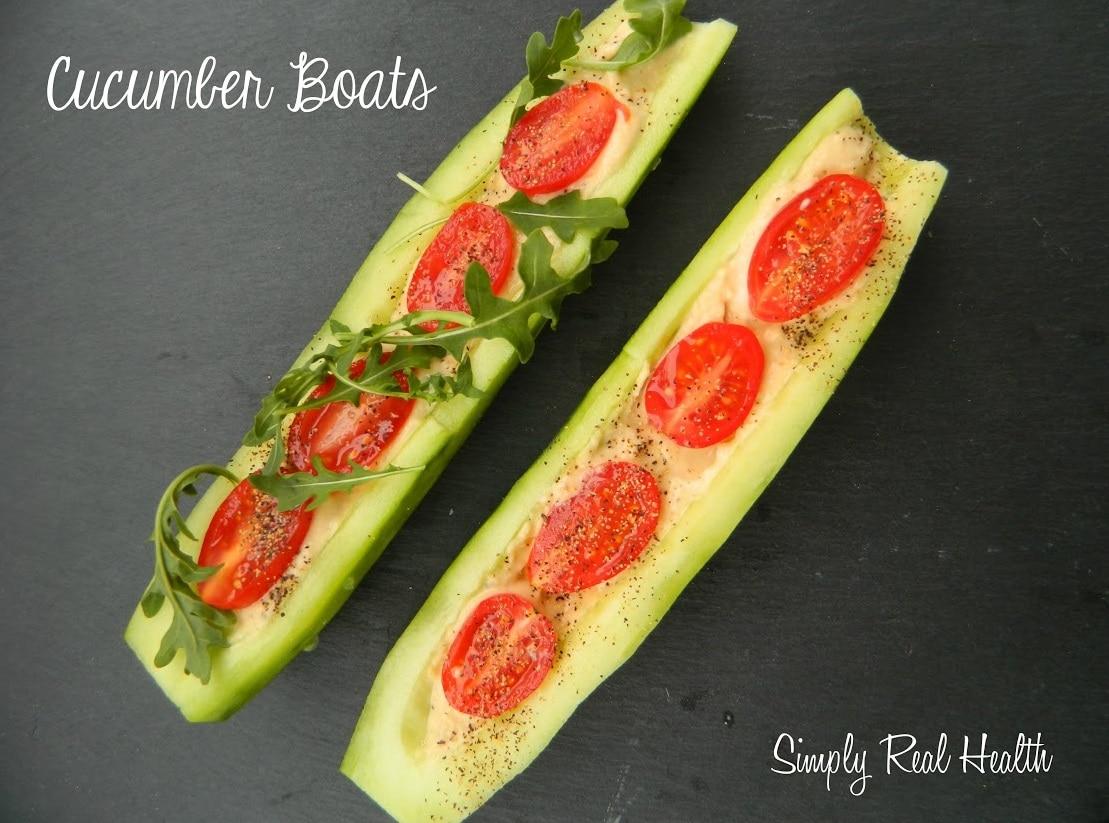 Cucumber Hummus Boats