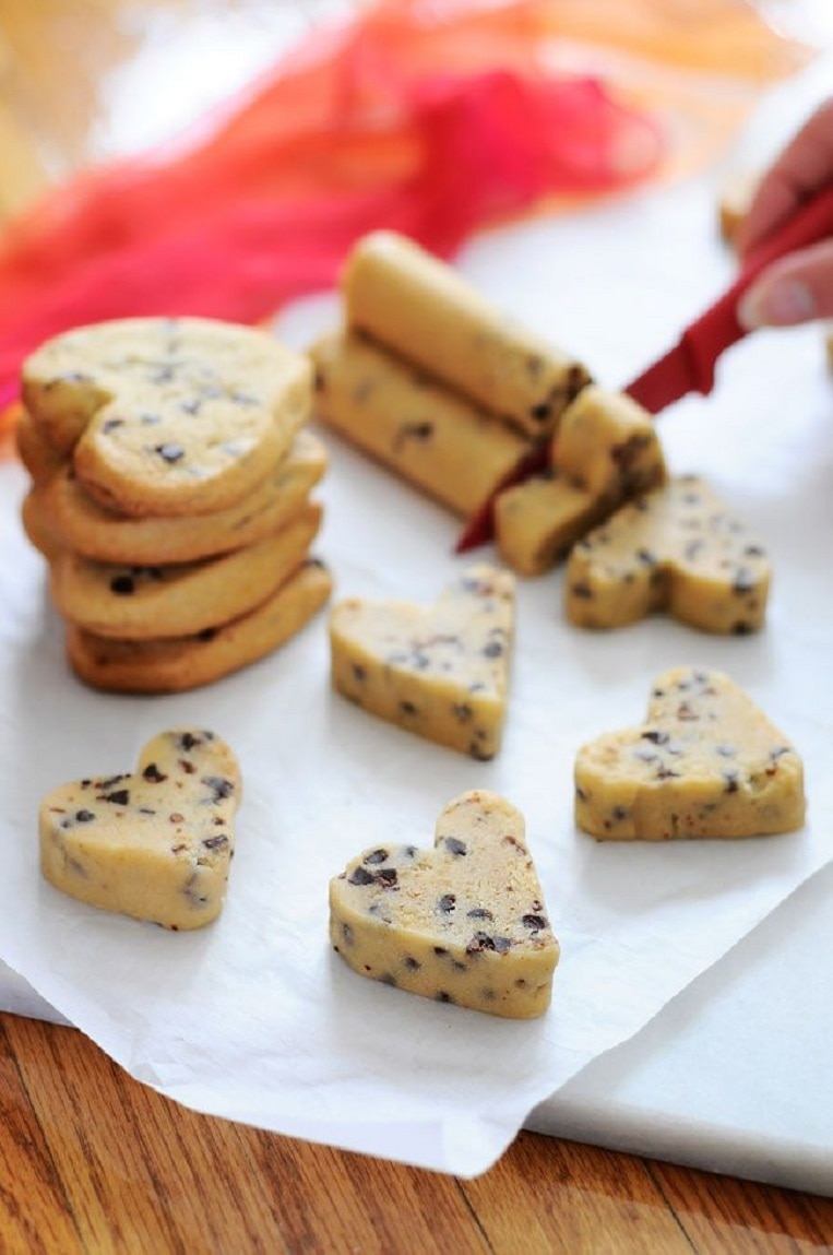 Heart Shaped Cookie Dough Log