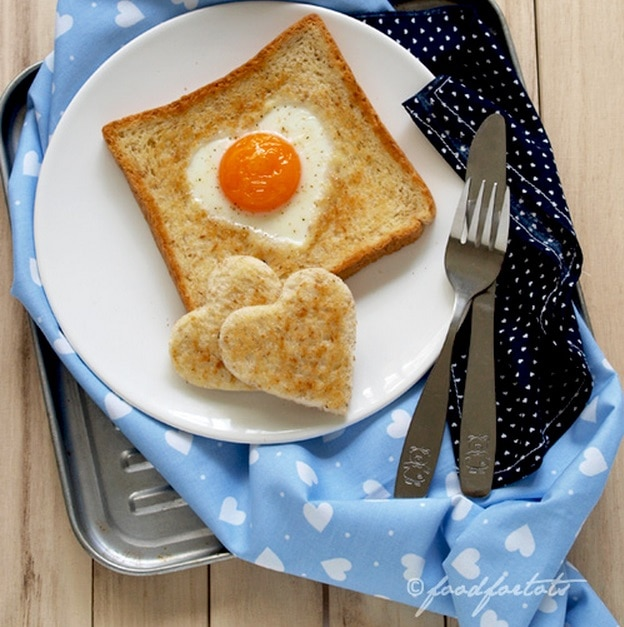 Heart Shaped Eggs in Toast