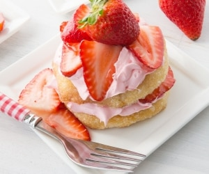 Strawberry Biscuit Shortcake Stacks featured