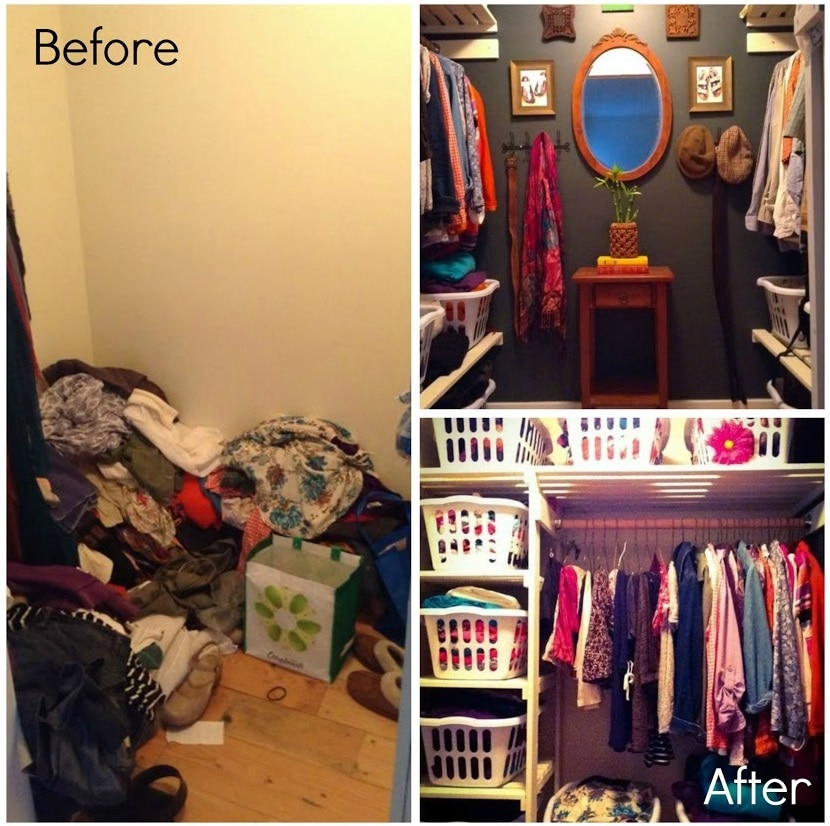 Before and After Use Laundry Baskets as Drawers