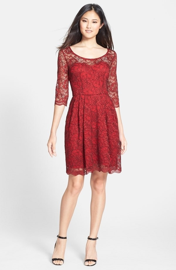 Betsey Johnson Illusion Yoke Fit and Flare Dress