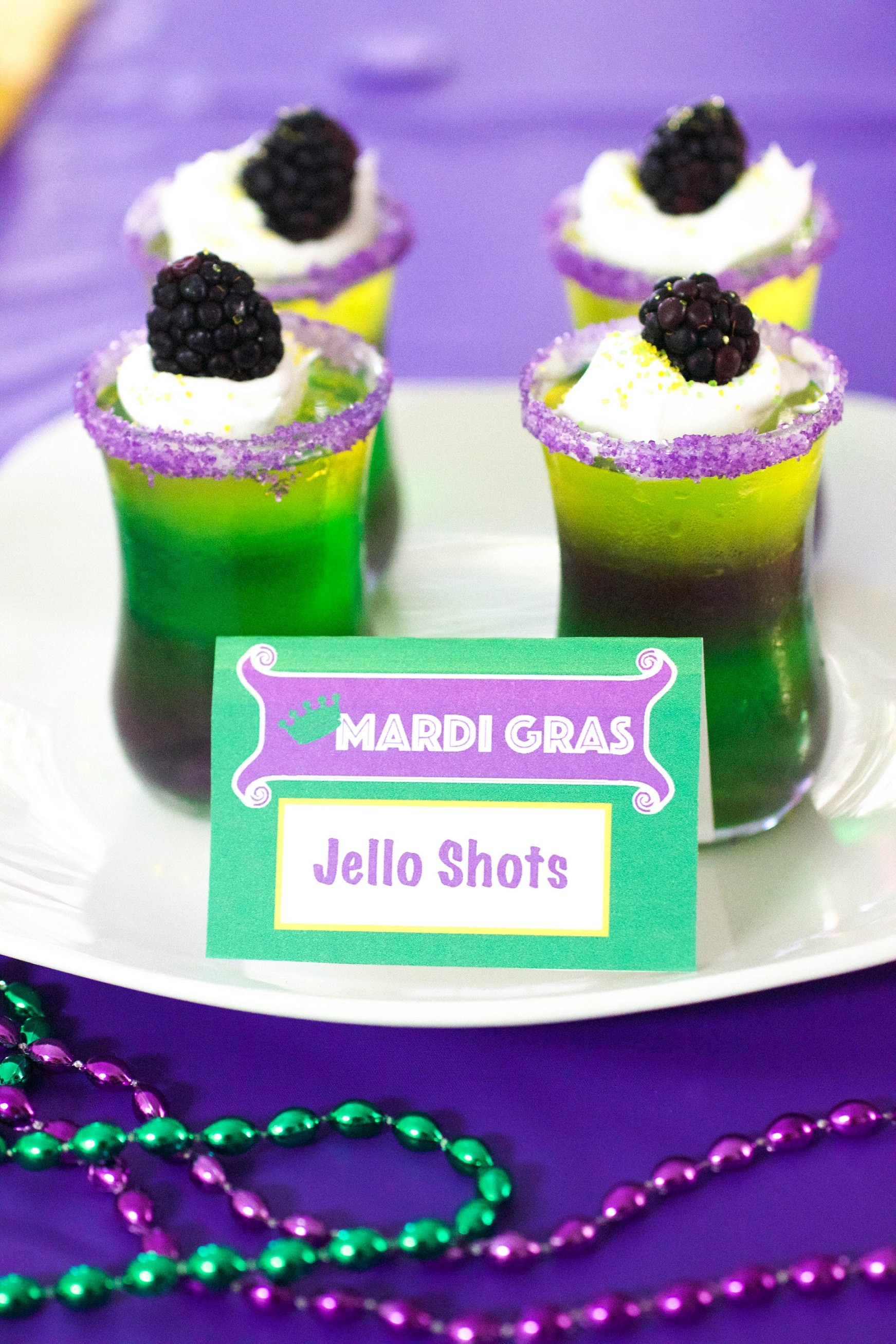 Mardi Gras Foods And Recipes Layered Jello Shooters Mardi Gras Jello Shooters