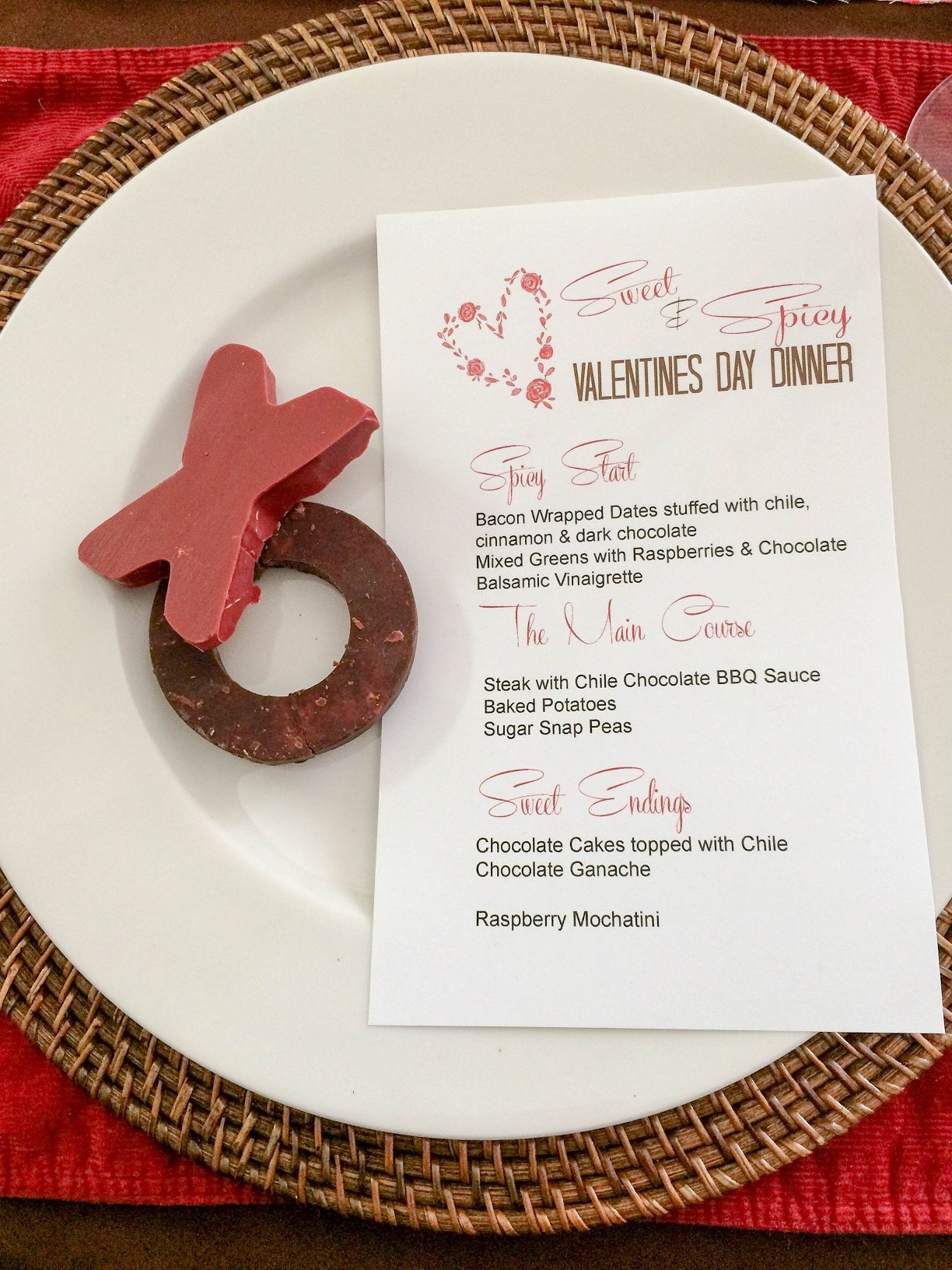 valentines day menu card