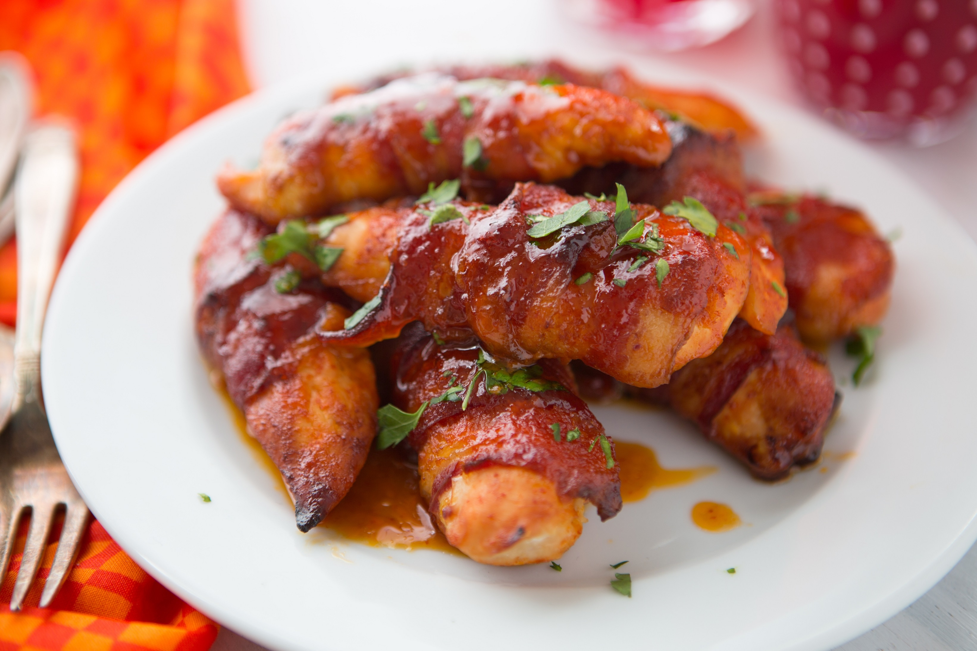 Bacon Wrapped Honey Sriracha Chicken Strips