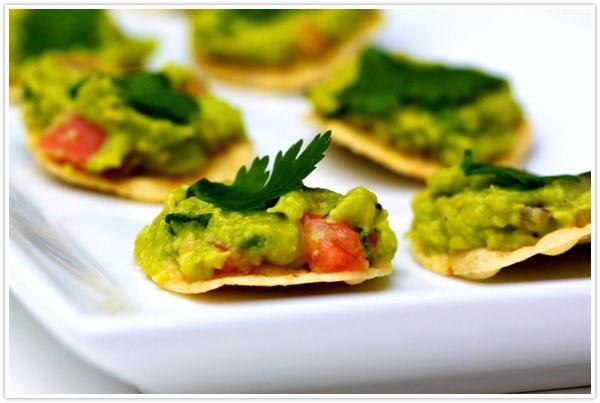 Bite Size Guacamole Tostadas