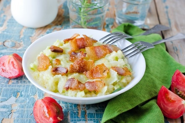 Colcannon Irish Mashed Potatoes with Cabbage and Bacon