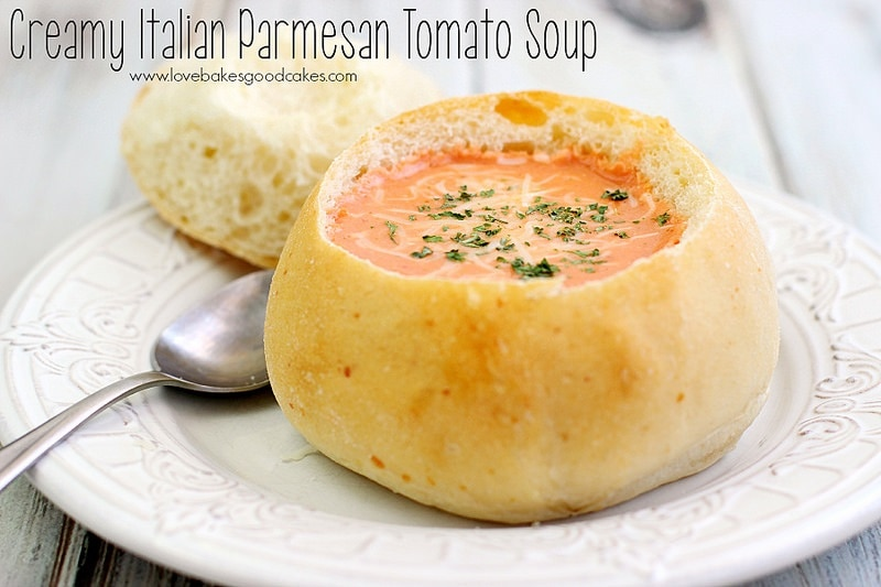Easy Italian Tomato Soup served in Bread Bowls