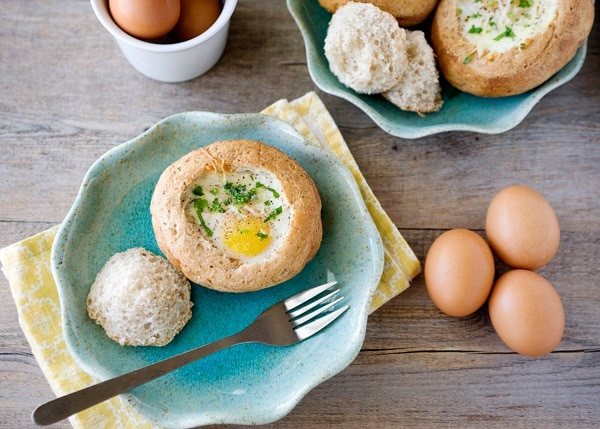Eggs Baked in Bread Bowls