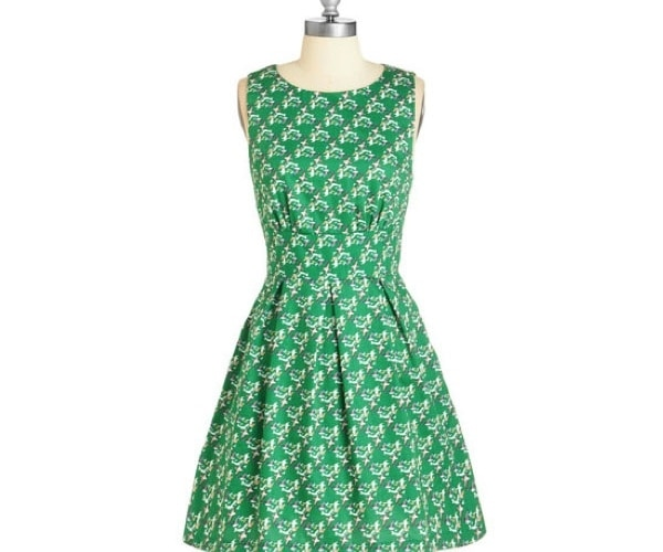 Green Pleated Skater Dress
