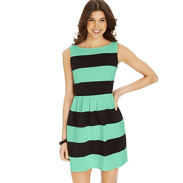 Green and Black Striped A-Line Dress