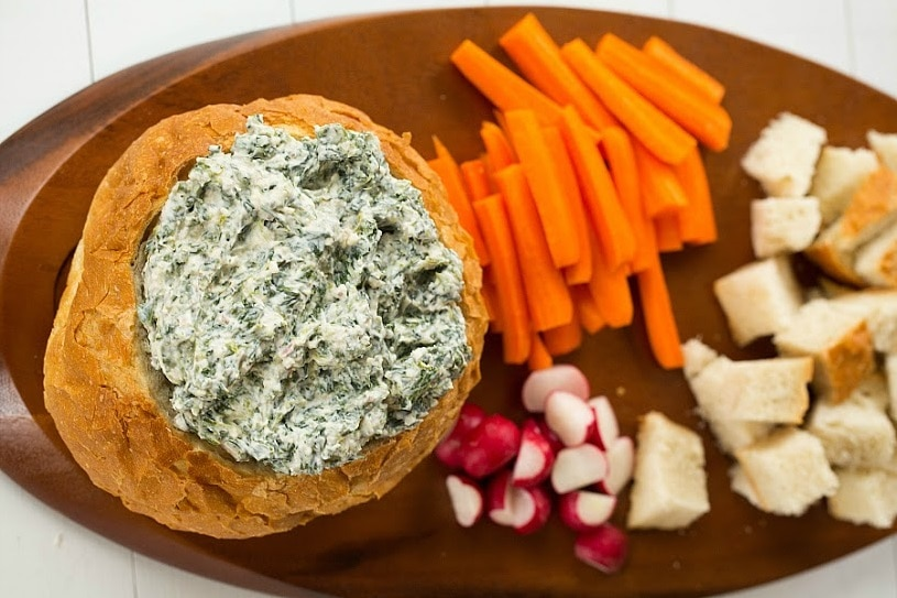Homemade Bread Bowl Spinach Dip