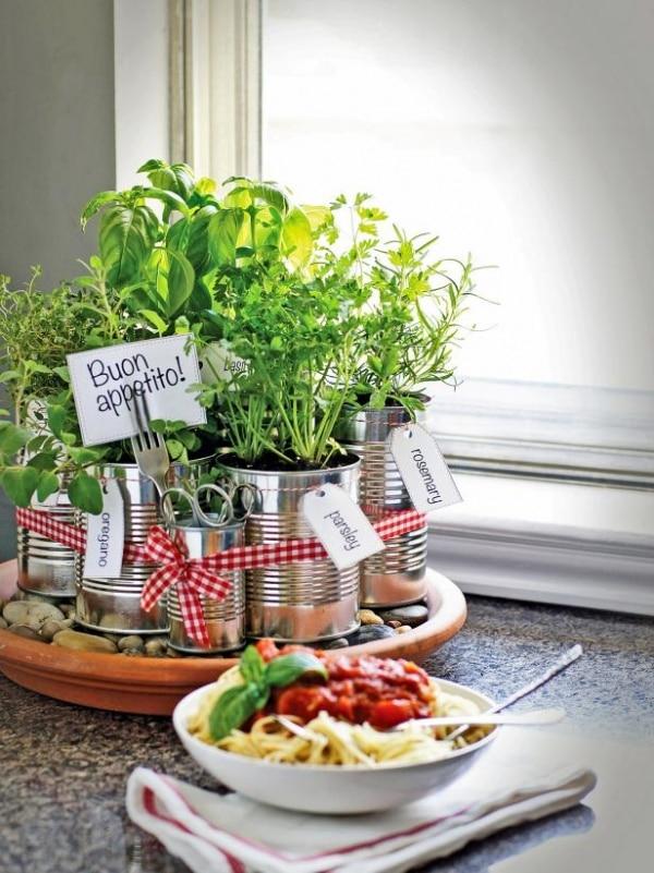 5 Tin Can Herb Garden