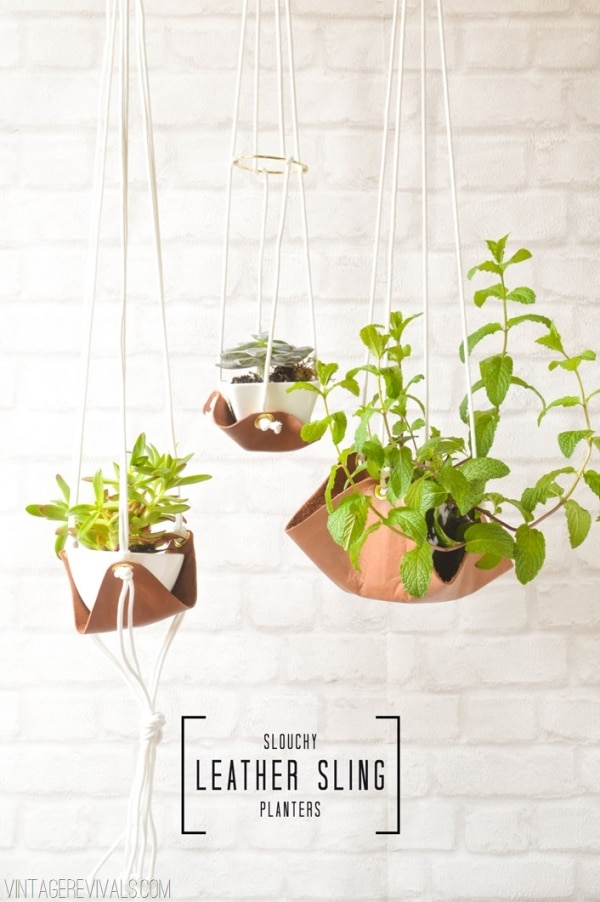 7 Leather Sling Planters