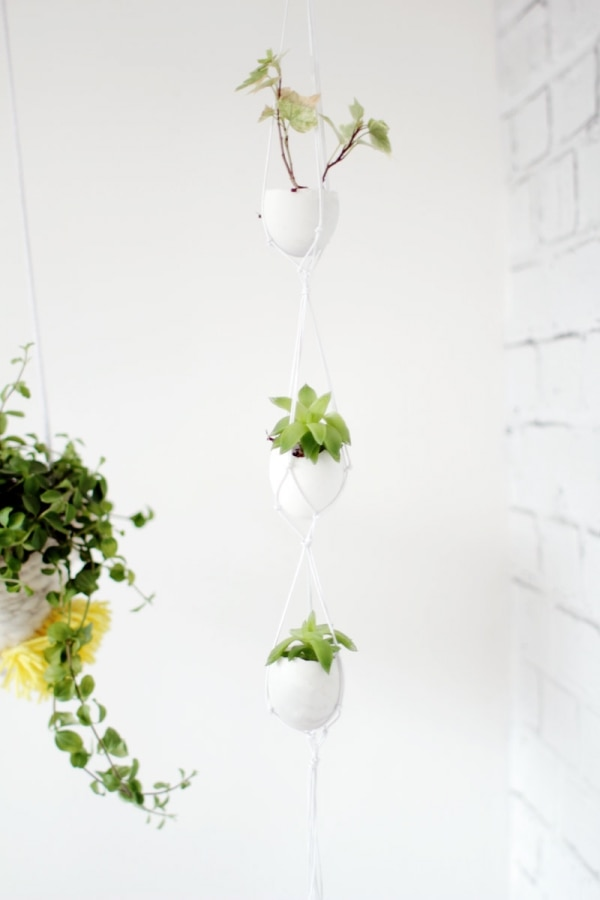 11. hanging egg shell planters