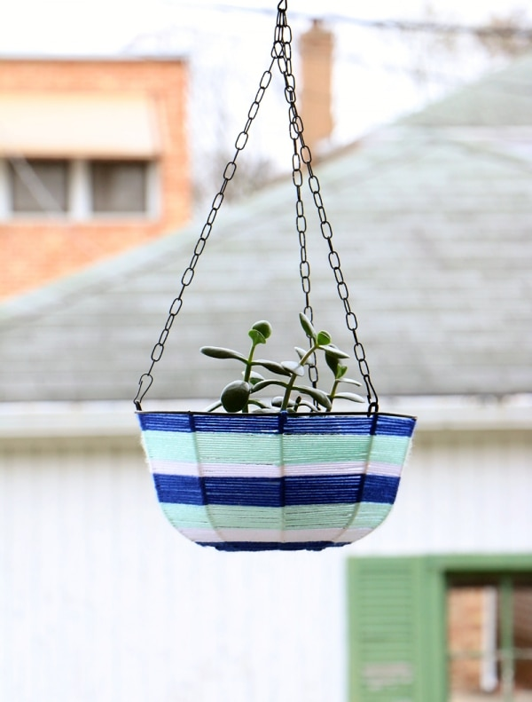 6. yarn wrapped hanging planter