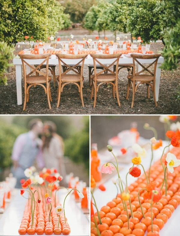 22 eye catching inexpensive diy wedding centerpieces thegoodstuff 10 orange table runner solutioingenieria Image collections