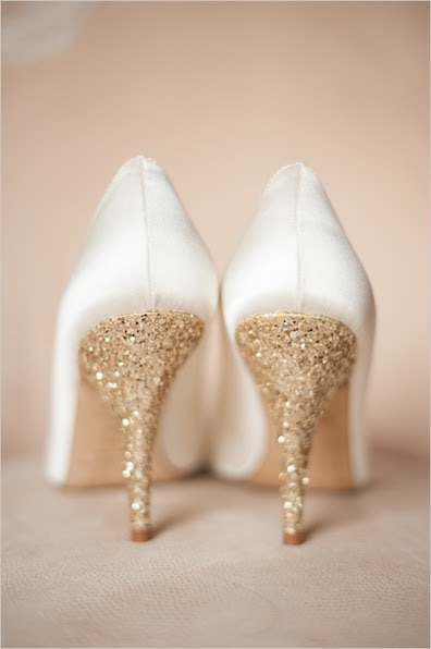 20 DIY Wedding Shoes for Every Bridal Style: Glitter Heels | thegoodstuff