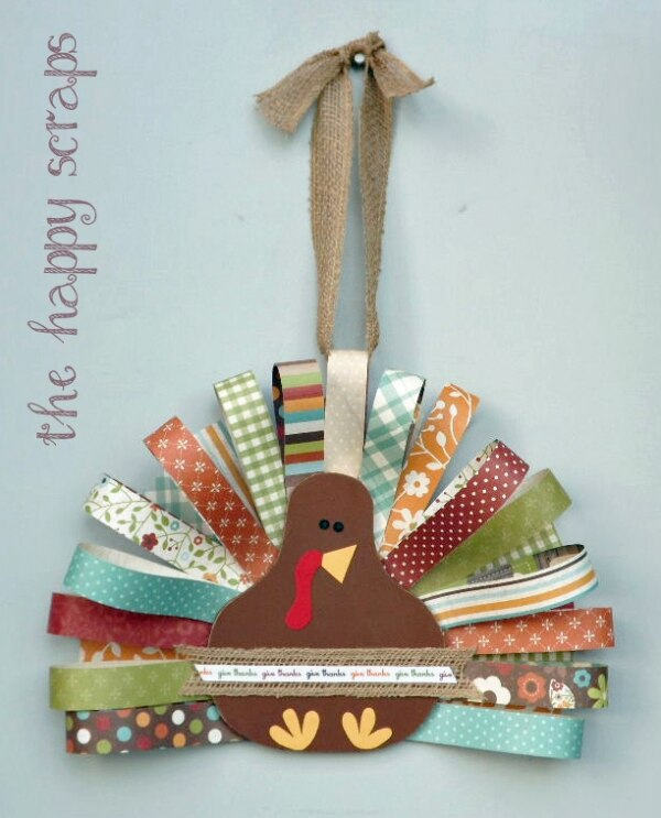 20 DIY Thanksgiving & Christmas Wreath Ideas: Paper Scrap Turkey Wreath | thegoodstuff