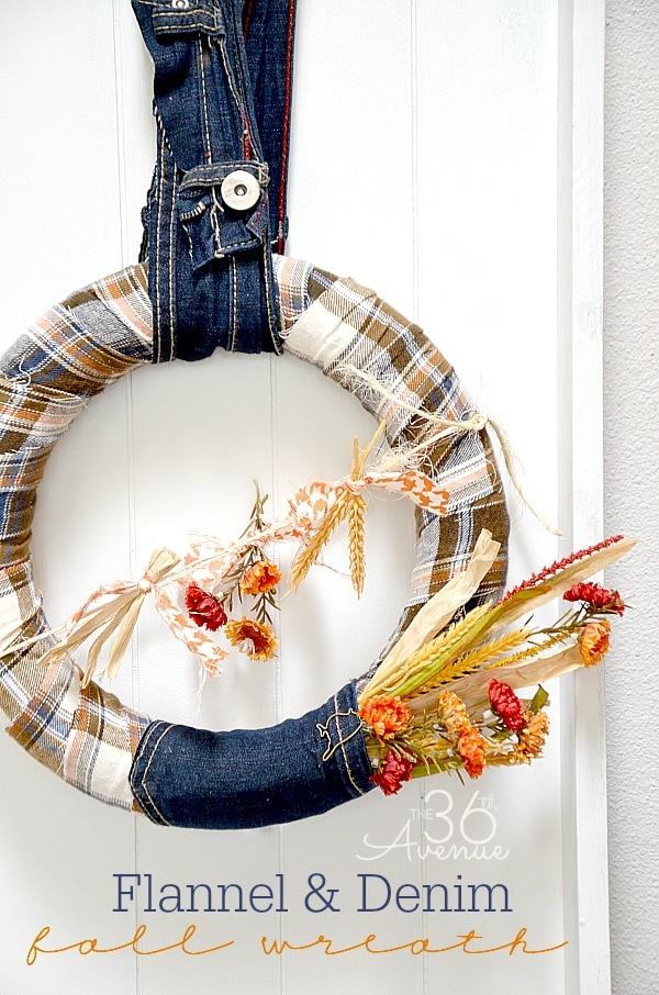 20 DIY Thanksgiving & Christmas Wreath Ideas: Denim & Plaid Wreath | thegoodstuff