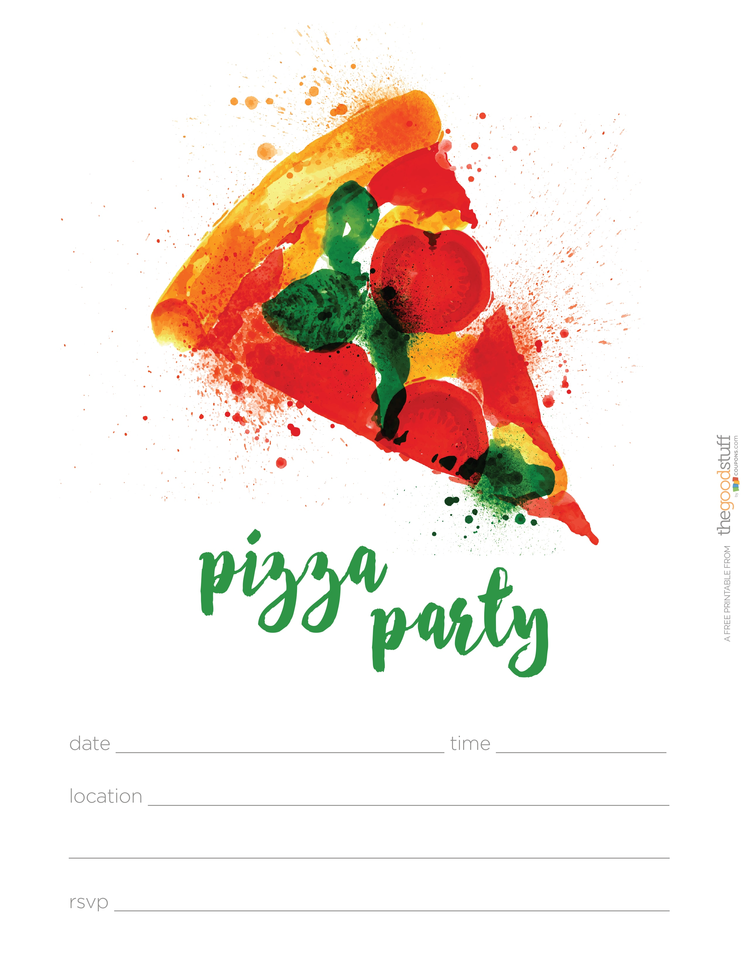 image regarding Printable Party Invite identified as Hostess Helpers: Totally free Pizza Social gathering Printables - thegoodstuff