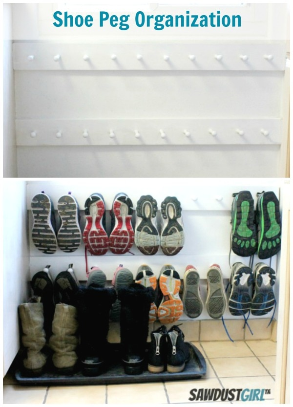 How to Organize Your Entryway: Shoe Peg Organizer | thegoodstuff
