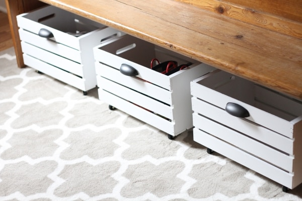 How to Organize Your Entryway: Rolling Shoe Bin | thegoodstuff