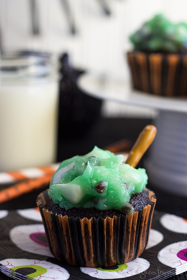12 Halloween Cupcakes You'll Be Too Scared to Eat!: Gluten-Free Witch's Broom Cupcakes   thegoodstuff