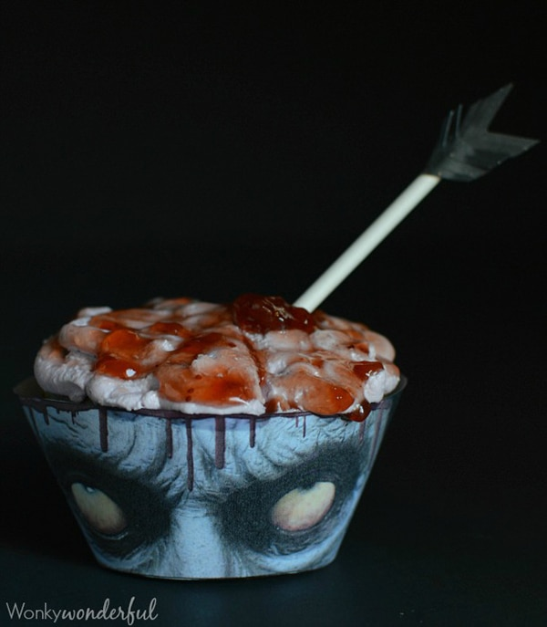 12 Halloween Cupcakes You'll Be Too Scared to Eat!: Bloody Zombie Brain Cupcakes   thegoodstuff