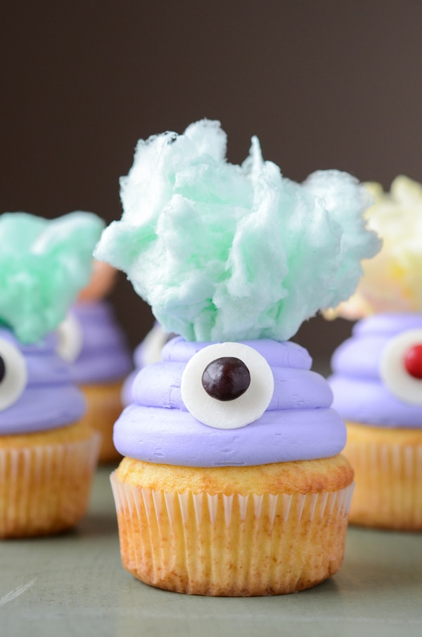 12 Halloween Cupcakes You'll Be Too Scared to Eat!: Cotton Candy Monster Cupcakes | thegoodstuff