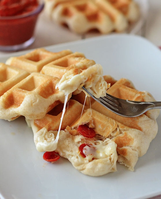 Waffle Iron Recipes for Kids: Waffle Iron Stuffed Pizza