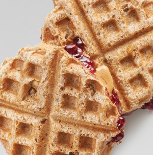 Waffle Iron Recipes for Kids: PB & J Waffles