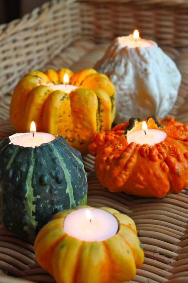 Gourds, Acorns & Leaves, Oh My! 9 DIY Fall Centerpieces: Gourd Candleholders | thegoodstuff