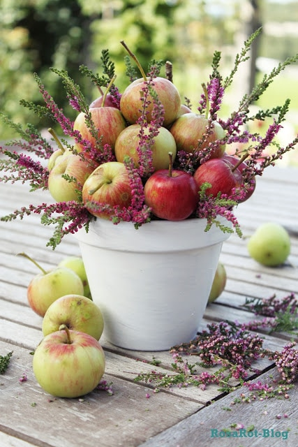 Gourds, Acorns & Leaves, Oh My! 9 DIY Fall Centerpieces: Apple Planter | thegoodstuff
