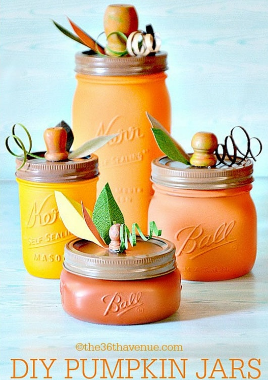 Gourds, Acorns & Leaves, Oh My! 9 DIY Fall Centerpieces: Mason Jar Pumpkins | thegoodstuff