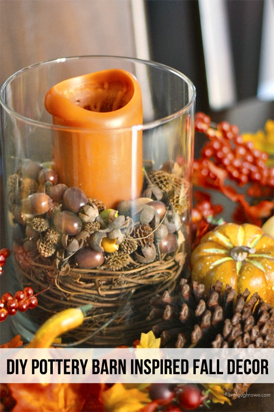 Gourds, Acorns & Leaves, Oh My! 9 DIY Fall Centerpieces: Pottery-Barn Inspired Candleholder | thegoodstuff