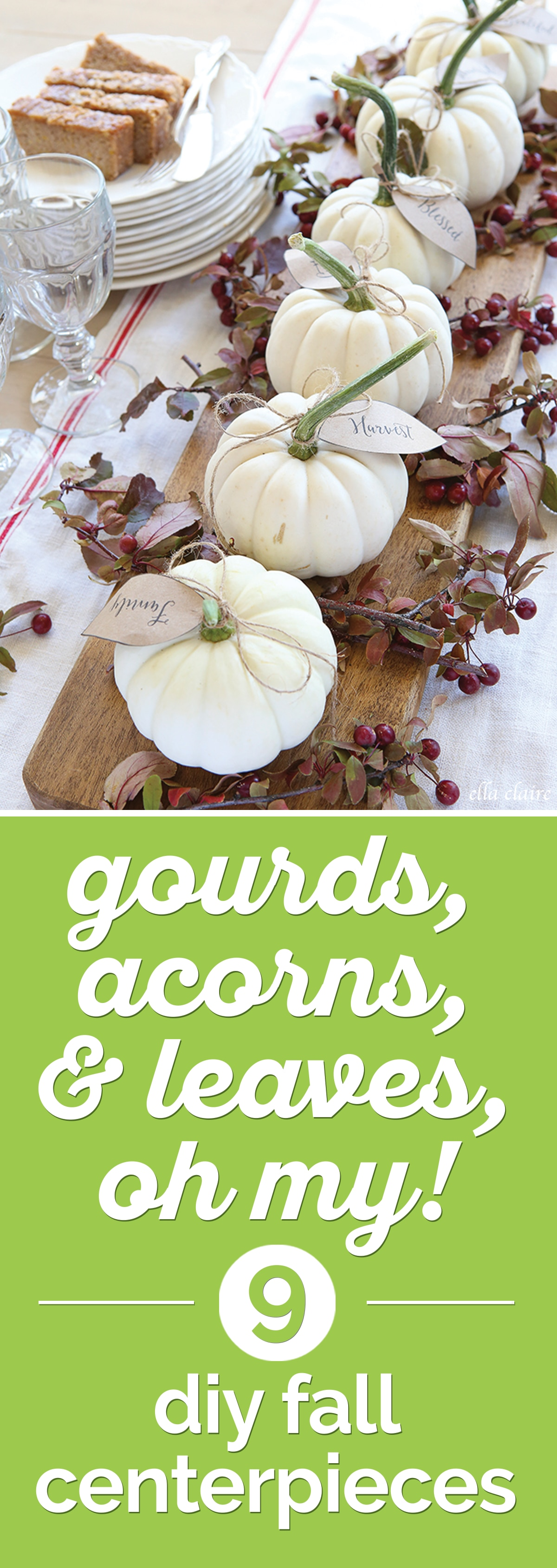 Gourds, Acorns & Leaves, Oh My! 9 DIY Fall Centerpieces | thegoodstuff