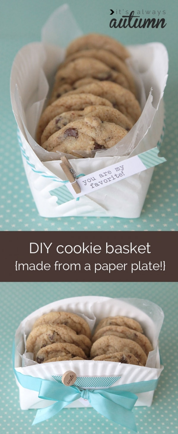 20 Tips for Packaging Christmas Cookies: Paper Plate Basket | thegoodstuff