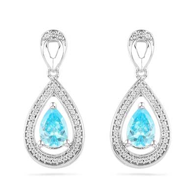 Its All About The Color Of These Icy Sparking Pendant Earrings Theyre Perfect As A March Birthday Gift Or To Complement Her Brilliant Blue Eyes