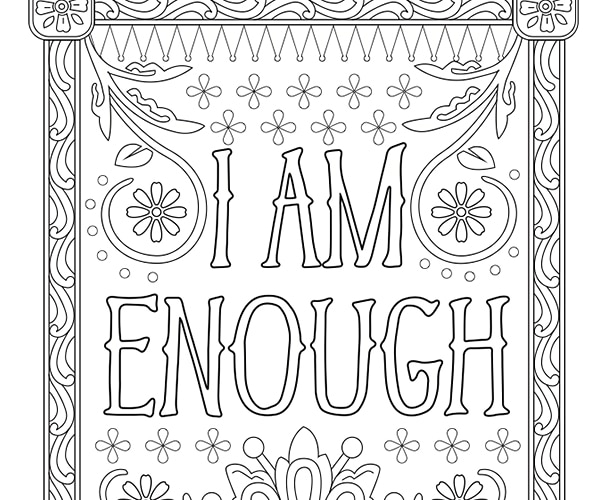 I Am Enough Adult Coloring Page