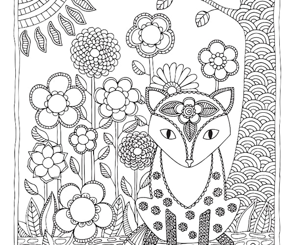 Woodland Fox Coloring Page