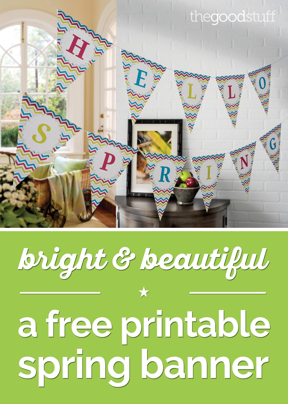 Bright & Beautiful: A Free Printable Spring Banner | thegoodstuff