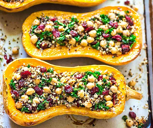 These winter squash recipes represent the very best of fall, plus they deliver a good dose potassium, beta-carotene, and other phytonutrients and antioxidants (the stuff healthy cells dream of!). First up, this jazzed up stuffed acorn squash, a guaranteed crowd-pleaser.