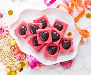Share the Love With Chocolate-Cherry Frosting Fudge | thegoodstuff